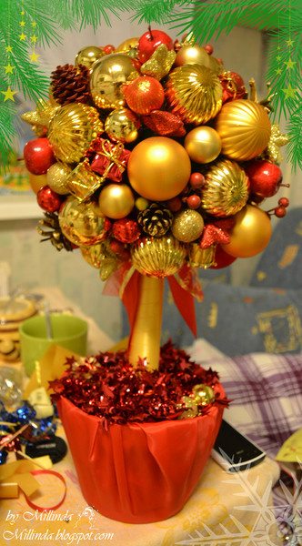 Дерево из новогодних шаров своими руками