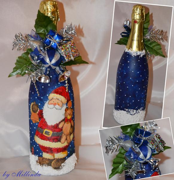 Как украсить бутылки шампанского на новый год своими руками фото