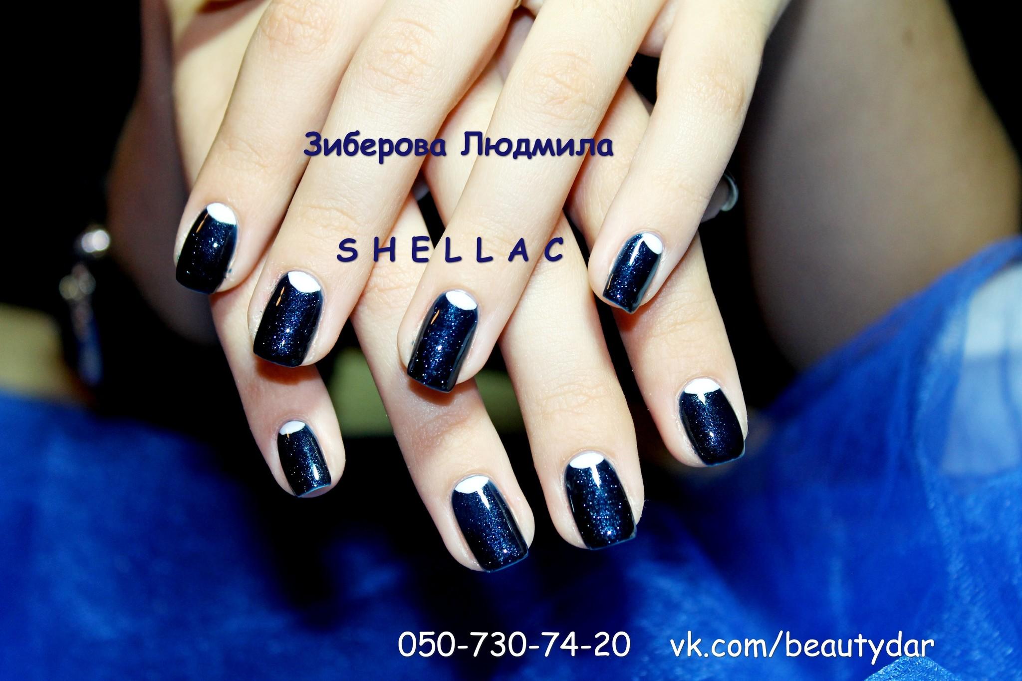 Дизайн ногтей с черным шеллаком