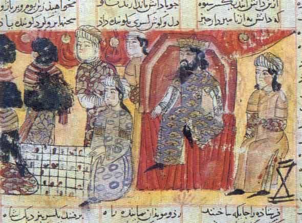 Бузургмихр и посол Каннуджа играют в шахматы. Миниатюра из рукописи поэмы Фирдоуси