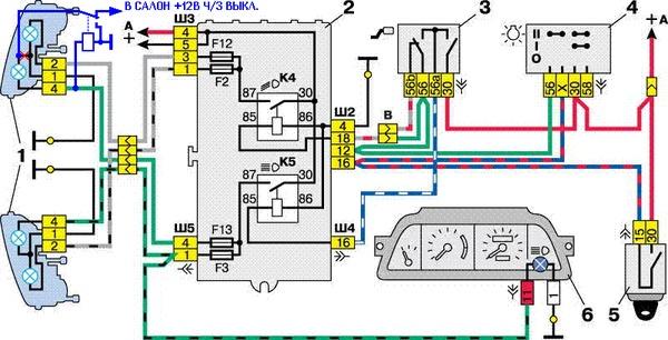 Схема подключения блок-фар с однонитиевыми лампами ближнего света 1 - блок-фары; 2 - монтажный блок; 3...