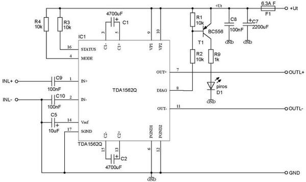 Схема включения TDA1562Q (вариант) И закоротить, или выпаять и поставить перемычки.