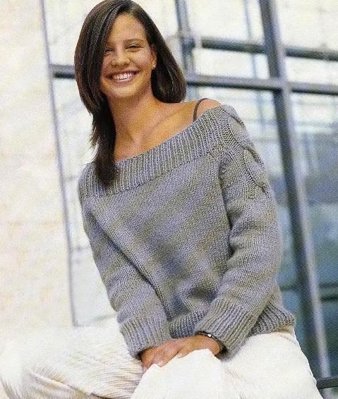 схема вязания свитера с открытыми плечами.
