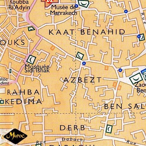 Медина любого арабского города - настоящий лабиринт (фрагмент карты медины Марракеша)