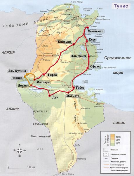 Карта Туниса с маршрутом экскурсии в Сахару из Хаммамета