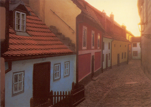 Золотая улочка в Пражском Граде (c открытки Милана Кинцла)