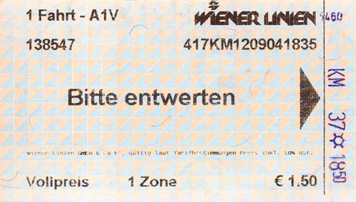 Билет на одну поездку на общественном транспорте в пределах первой зоны города Вены