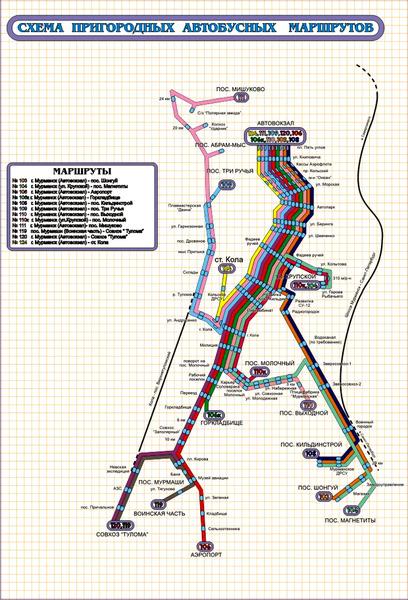 Схема пригородных маршрутов