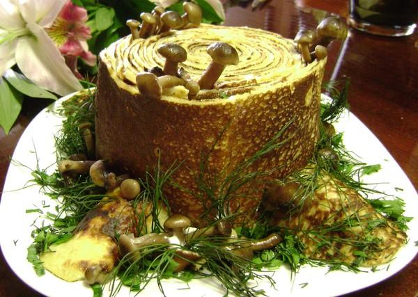 рецепт салата пень с опятами