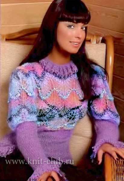 Нарядный женский свитер с узором