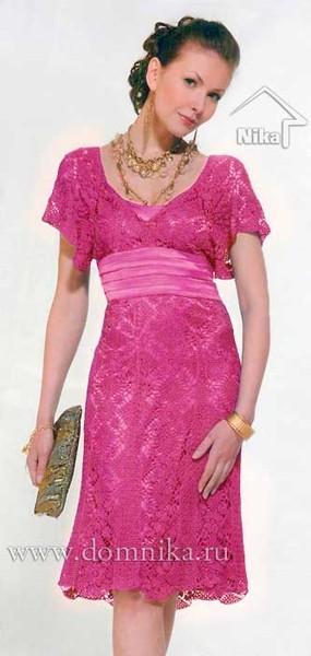 Красивое ажурное вязаное платье