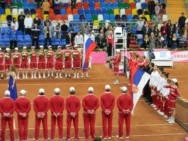Церемония открытия полуфинала FED CUP Россия-Сербия