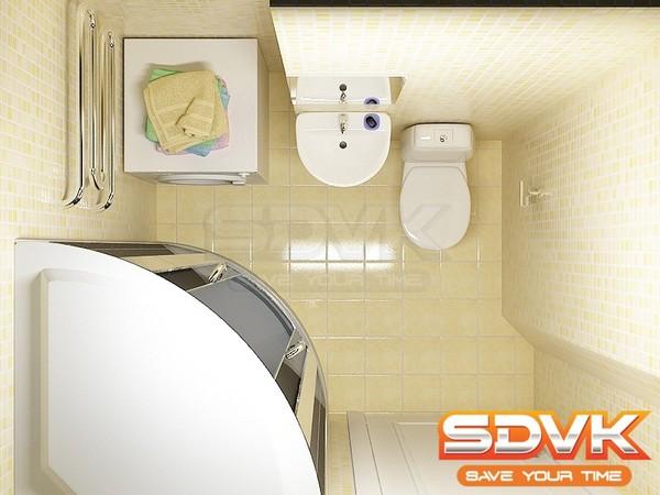 Дизайн маленькой душевой с туалетом
