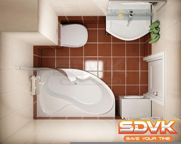 маленькой ванной комнаты.