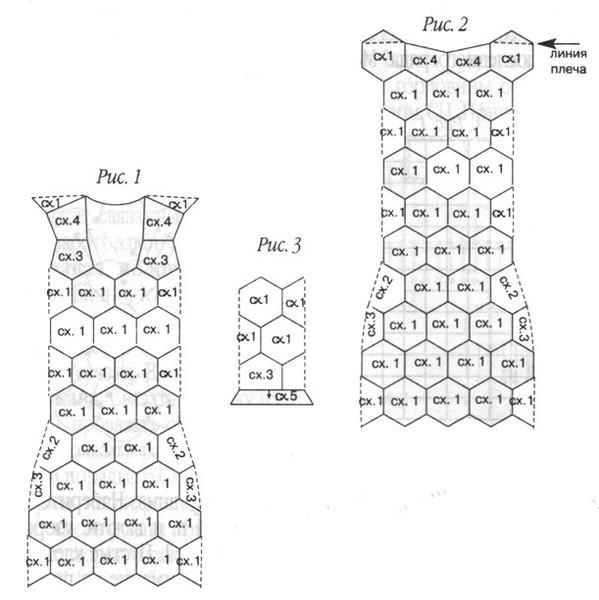 схема ажурного матива крючком