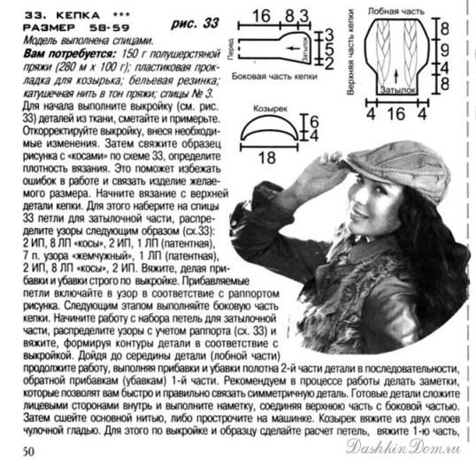 Вязание кепки спицами схема