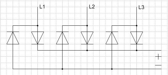 Схема з-х фазного выпрямителя.