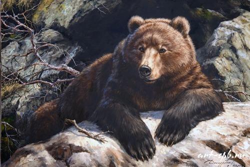 """Схема вышивки  """"Медведь на камнях """" ."""