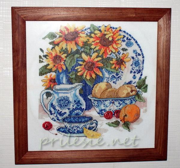 Натюрморт украсит комнату или кухню, конечно на кухне вышивка должна быть закрыта стеклом