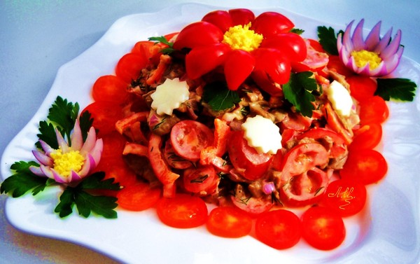 Украшения для салатов с помидоров с фото