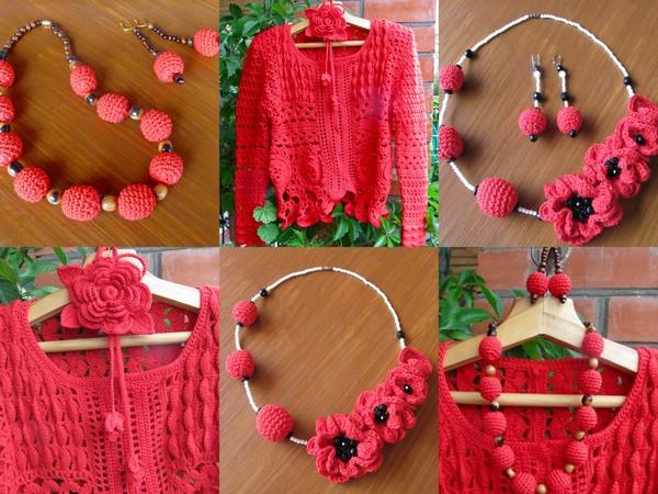 Красный жакет , красные украшения ....