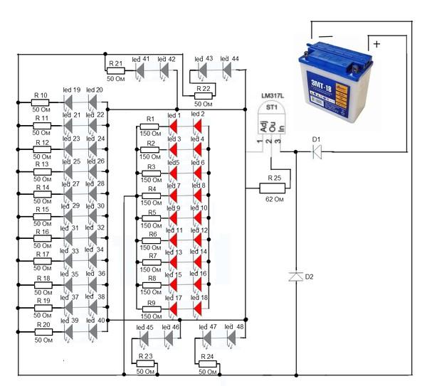 Светодиоды от LED 1 до LED 18