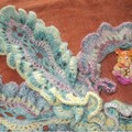 Ажурный шарфик Боа связан крючком из меланжевой пряжи, В стужу согреет и придаст внимание прохожих, Необычный...