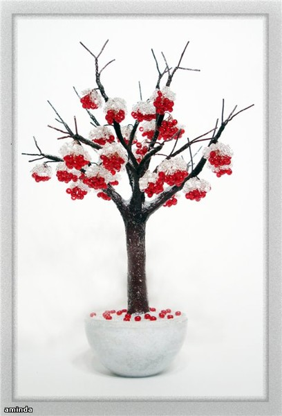 Бисер и камни - цветы и деревья.  Ольга Aminda.