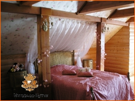 стиль кантри в интерьере спальни.