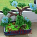 Цветы, Деревья из бисера.