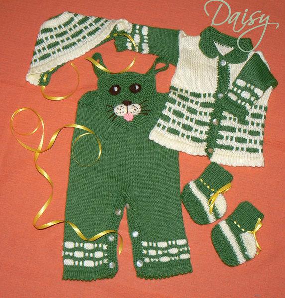 Вязание на спицах теплых костюмов для детей