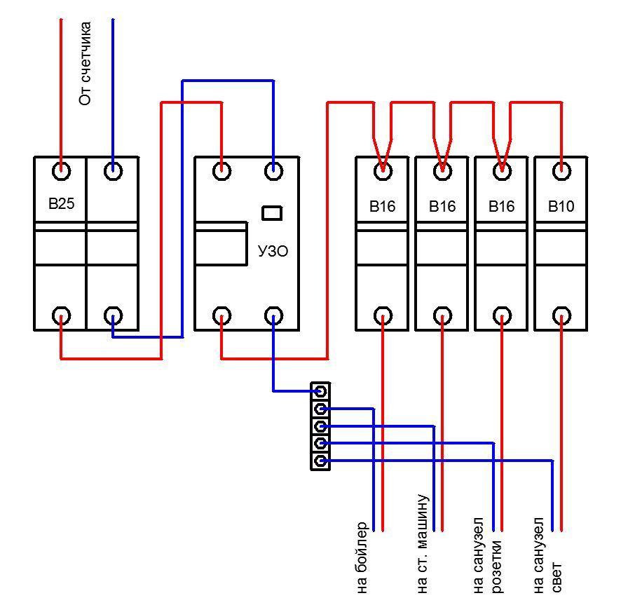 схему подключения УЗО