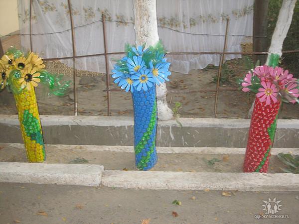 Поделки из донышек пластиковых бутылок для сада 48