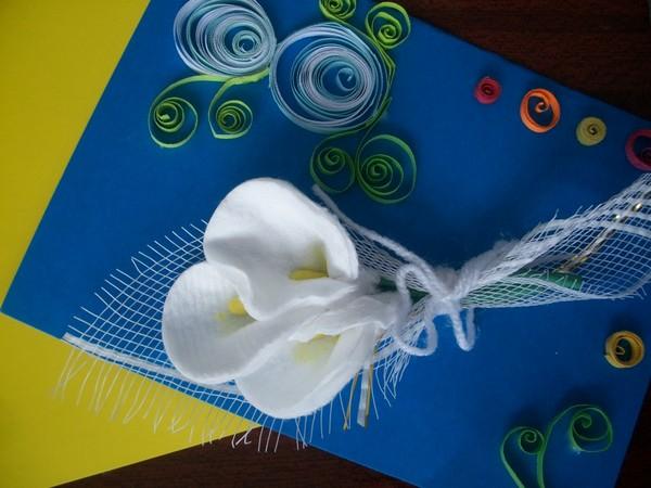 Как сделать открытку из ватных палочек и дисков 54