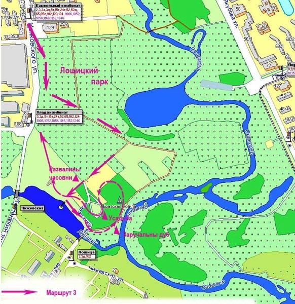 Вот мы и дошли до последней части маршрута - конца речки Лошицы.  Тут она вливается в реку Свислочь и теряется в ее...
