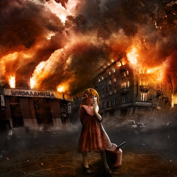 Девочка посреди разрушенного города