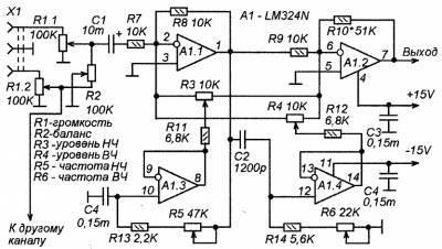 Предварительный усилитель нч с необычным регулятором тембра.
