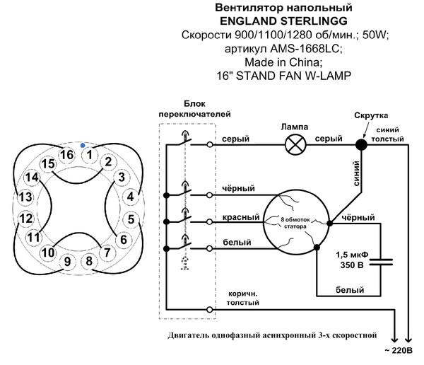 Электрическая схема напольного вентилятора.