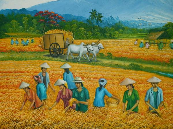 картина - балийские крестьяне