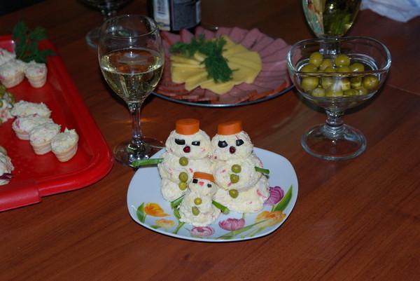 Крабовый салат - Снеговики