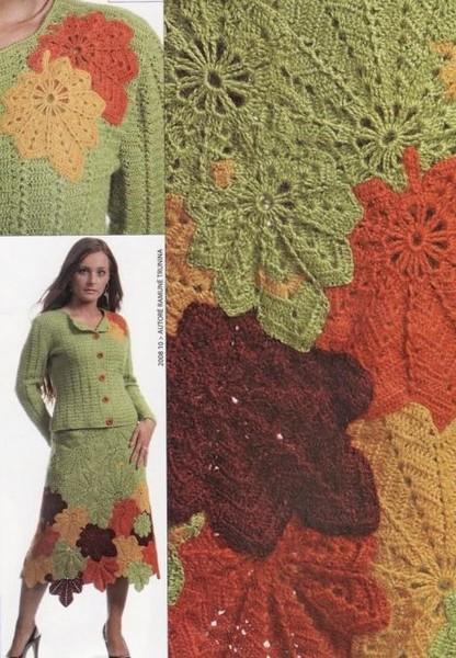 И еще варианты юбок с листьями