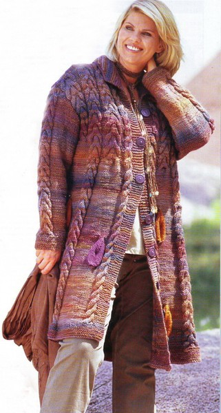 Вязаное меланжевое пальто