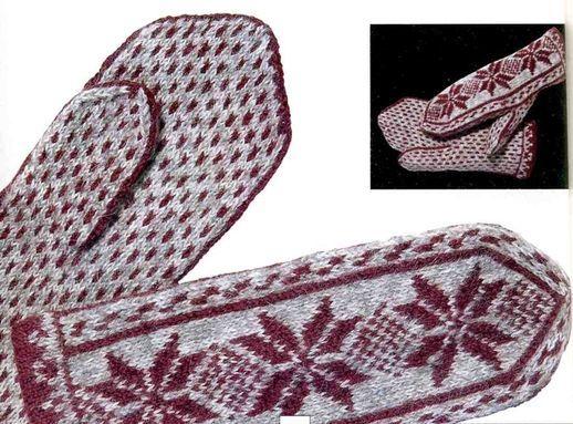 Узорные рукавички. жаккардовое
