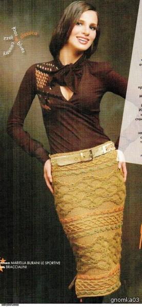Оригинальная вязаная юбка.