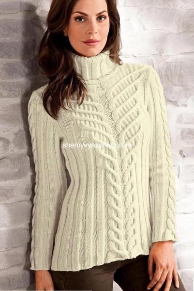 Мужской пуловер с рельефным узором схема Для мужчин