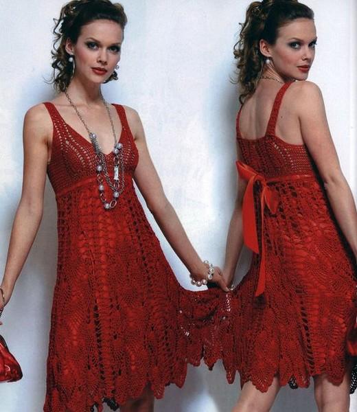 Красное платье крючком.