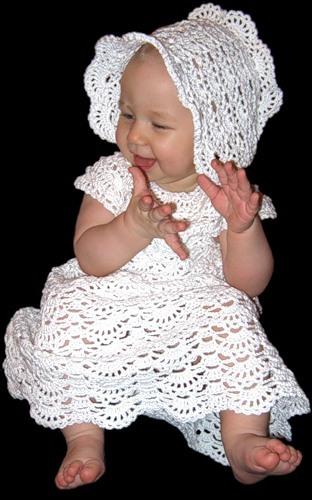 Крестильное платье спицами.