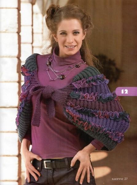 Накидка с рюшами (вязание
