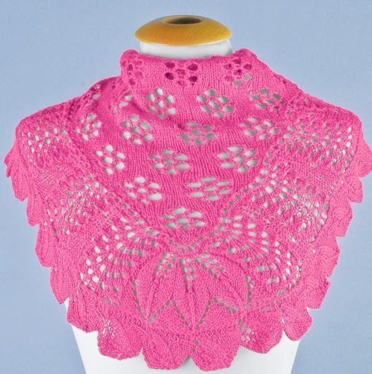 Розовая шаль спицами. Схема и