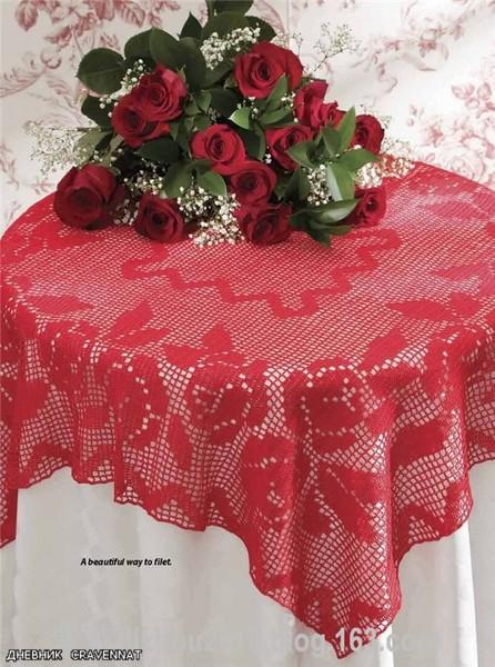 Красные розы-скатерть. Схема